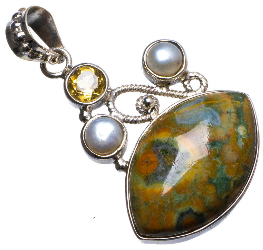 Natural Ocean Jasper,Citrine and River Pearl Handmade Unique 925 Sterling Silver Pendant 1.5