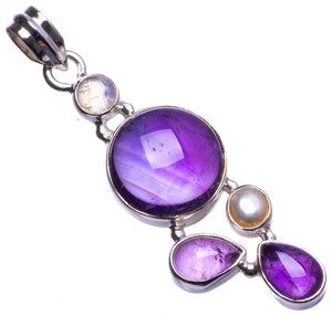 "Natural Amethyst and River Pearl Handmade Unique 925 Sterling Silver Pendant 2"" X1428"