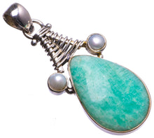 "Natural Amazonite and River Pearl Handmade Unique 925 Sterling Silver Pendant 2"" X1461"