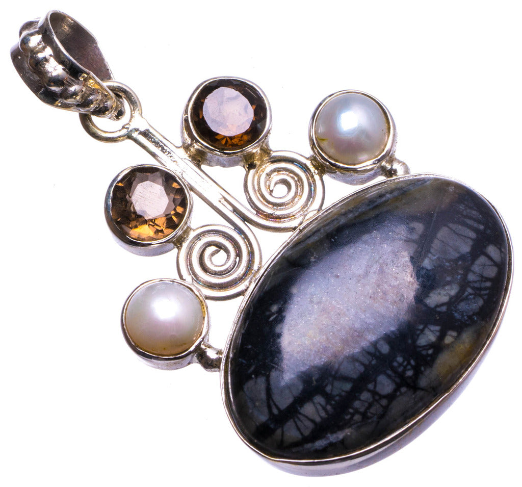 Natural Picasso Jasper,River Pearl Smoky Quartz Handmade Unique 925 Sterling Silver Pendant 1.5