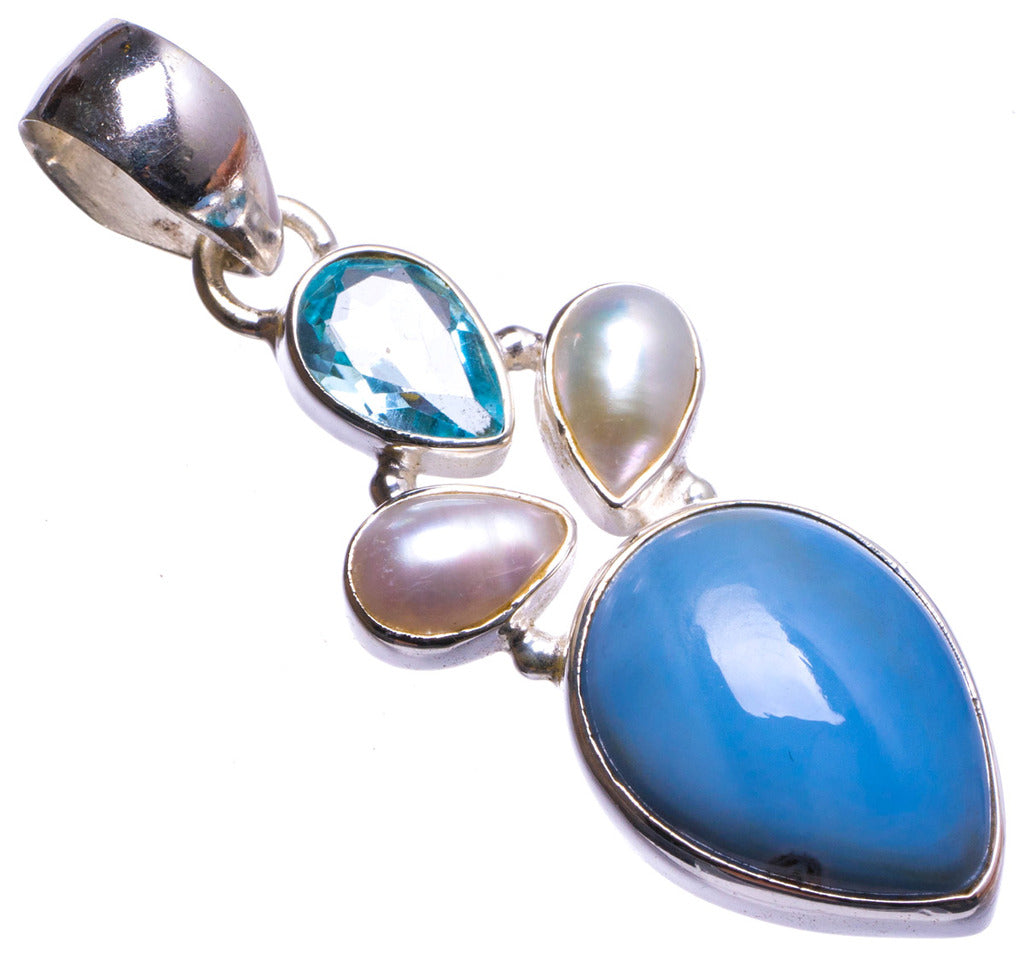 Natural Owhyee Opal,River Pearl and Blue Topaz Handmade Unique 925 Sterling Silver Pendant 2