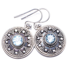 "Natural Blue Topaz Handmade Unique 925 Sterling Silver Earrings 1.25"" Y1600"