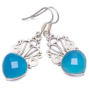 "Natural Chalcedony Handmade Unique 925 Sterling Silver Earrings 1.5"" Y1607"