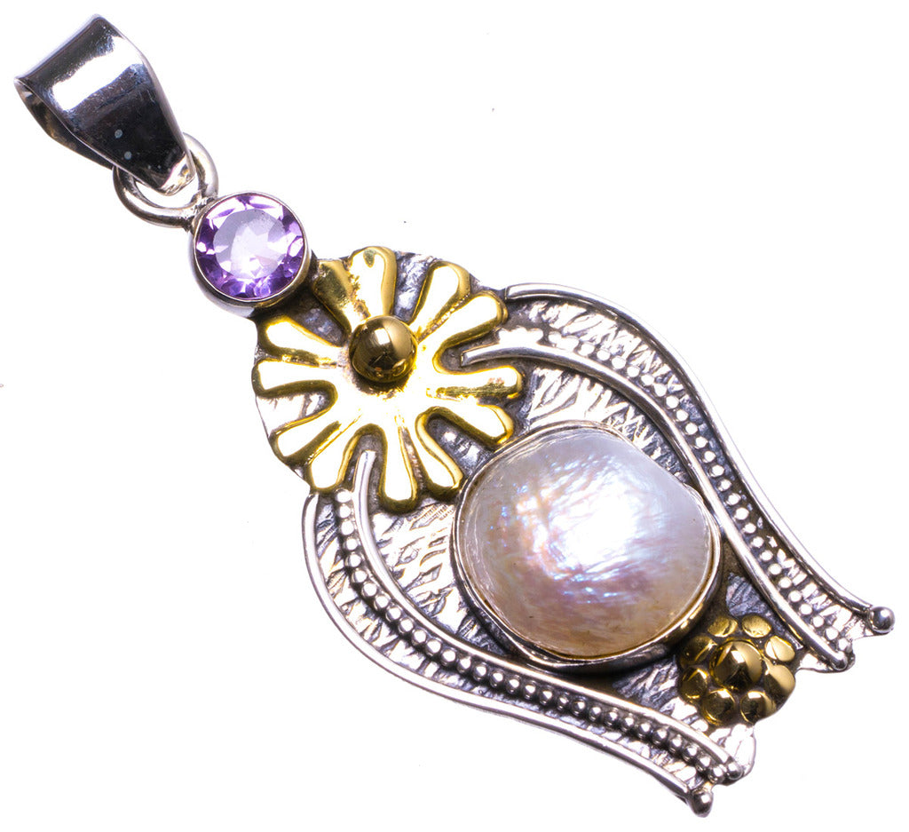 Natural Biwa Pearl and Amethyst Handmade Unique 925 Sterling Silver Pendant 2