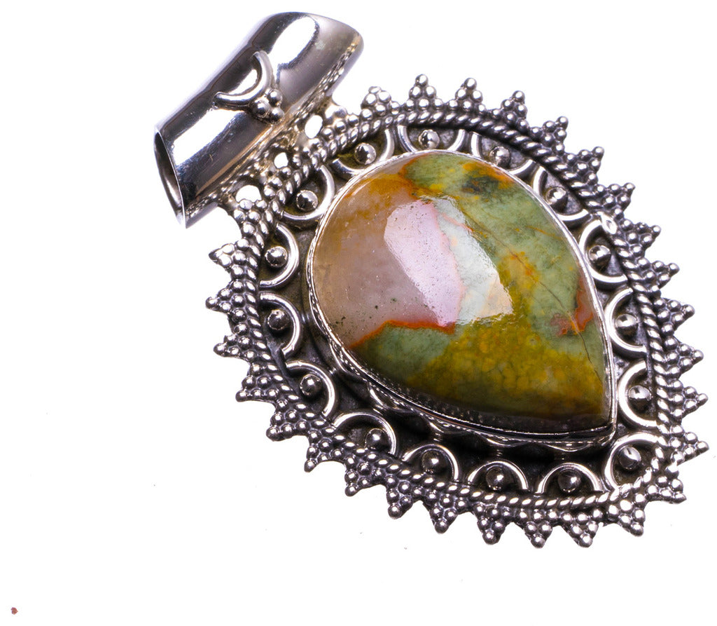 Natural Ocean Jasper Handmade Unique 925 Sterling Silver Pendant 1.5