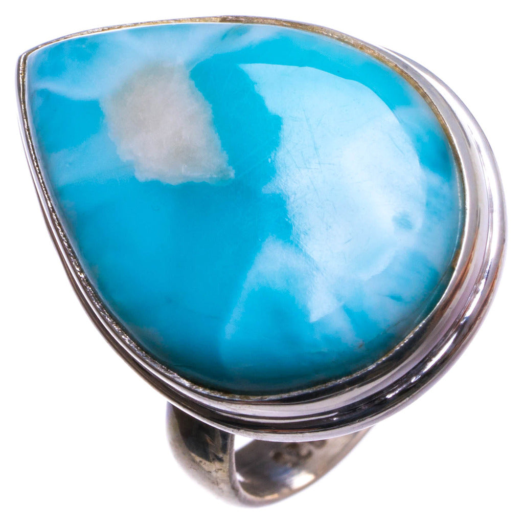 Natural Caribbean Larimar Handmade Unique 925 Sterling Silver Ring, US size 7 X1628