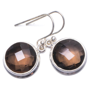 "Natural Smoky Quartz Handmade Unique 925 Sterling Silver Earrings 1"" Y1630"
