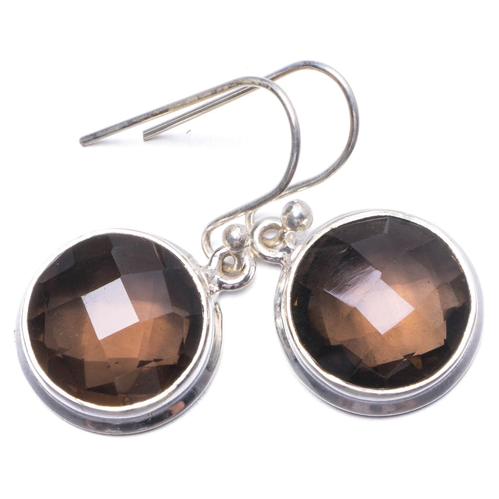 Natural Smoky Quartz Handmade Unique 925 Sterling Silver Earrings 1