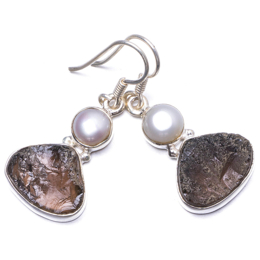 Natural Smoky Quartz and River Pearl Handmade Unique 925 Sterling Silver Earrings 1.5