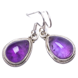 "Natural Amethyst Handmade Unique 925 Sterling Silver Earrings 1.25"" Y1654"