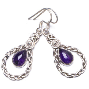 "Natural Amethyst Handmade Unique 925 Sterling Silver Earrings 1.5"" Y1689"