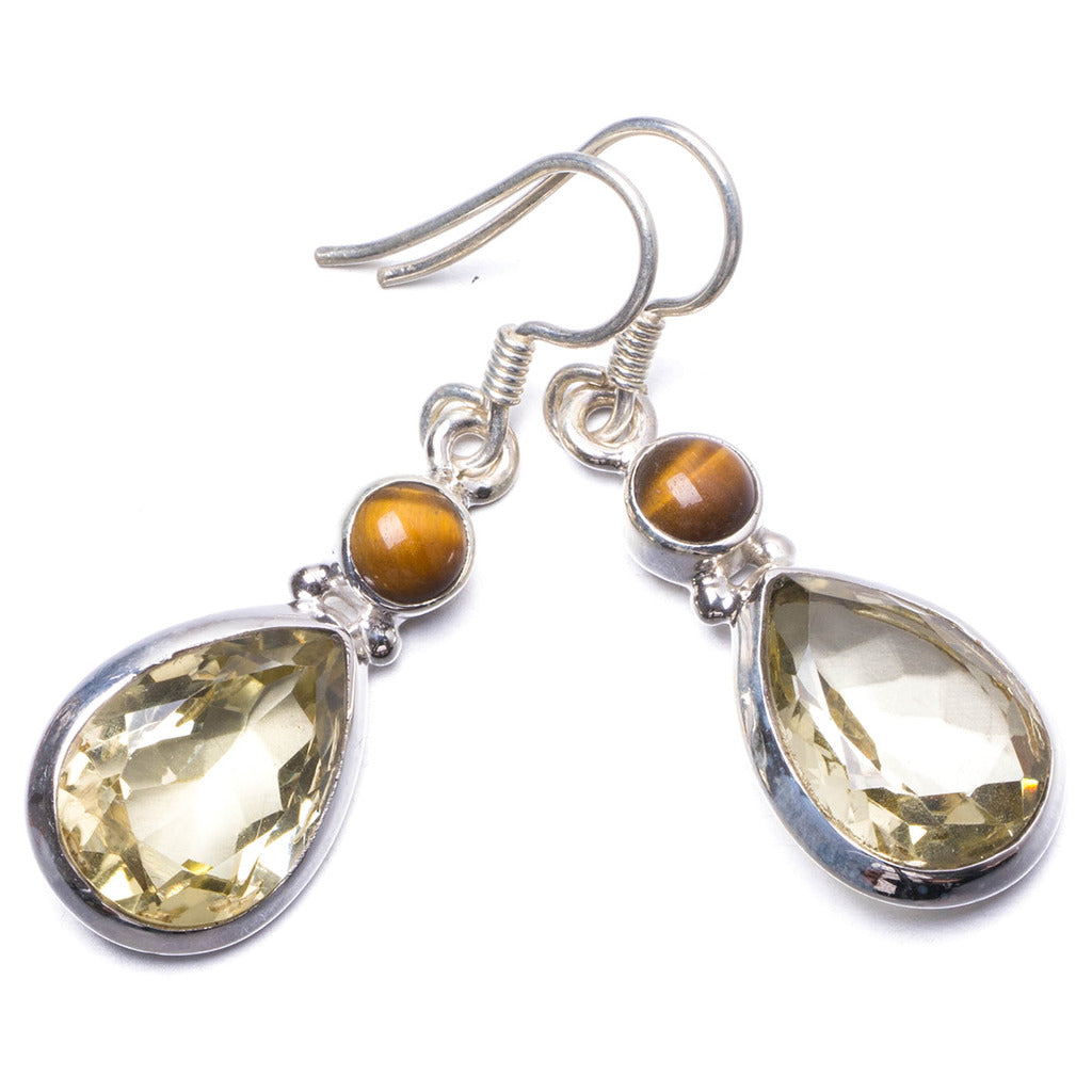 Natural Green Amethyst and Tiger Eye Handmade Unique 925 Sterling Silver Earrings 1.5