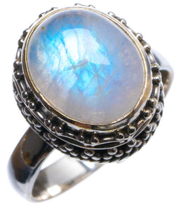 Natural Rainbow Moonstone Handmade Unique 925 Sterling Silver Ring, US size 7 X1920
