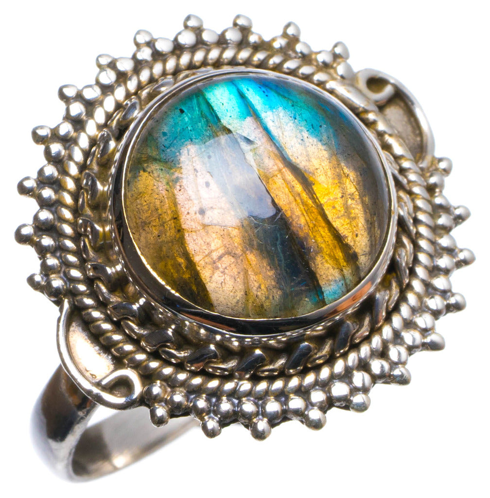 Natural Labradorite Handmade Unique 925 Sterling Silver Ring, US size 7.75 X2089