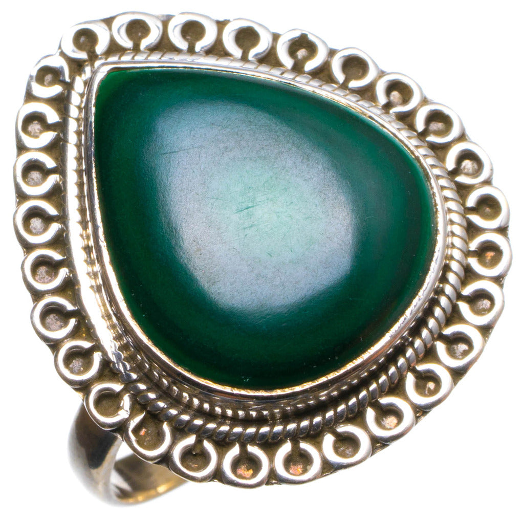 Natural Malachite Handmade Unique 925 Sterling Silver Ring, US size 8.25 X2122