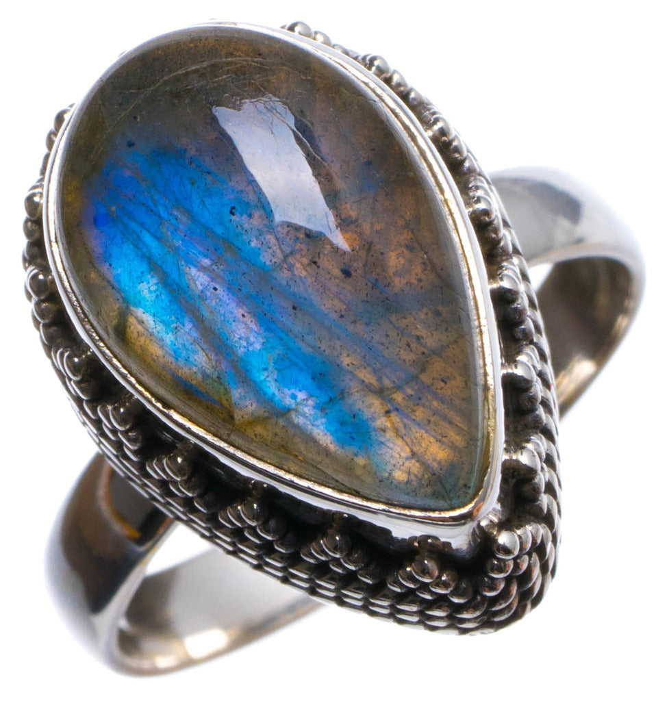Natural Labradorite Antique Design Handmade Unique 925 Sterling Silver Ring, US size 7.75 X2135