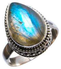 Natural Labradorite Antique Design Handmade Unique 925 Sterling Silver Ring, US size 6.75 X2142