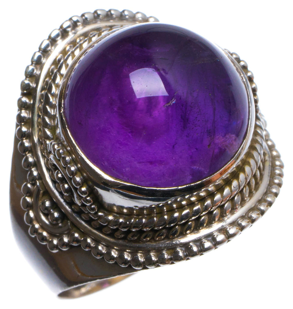 Natural Amethyst Handmade Unique 925 Sterling Silver Ring, US size 7.75 X2247