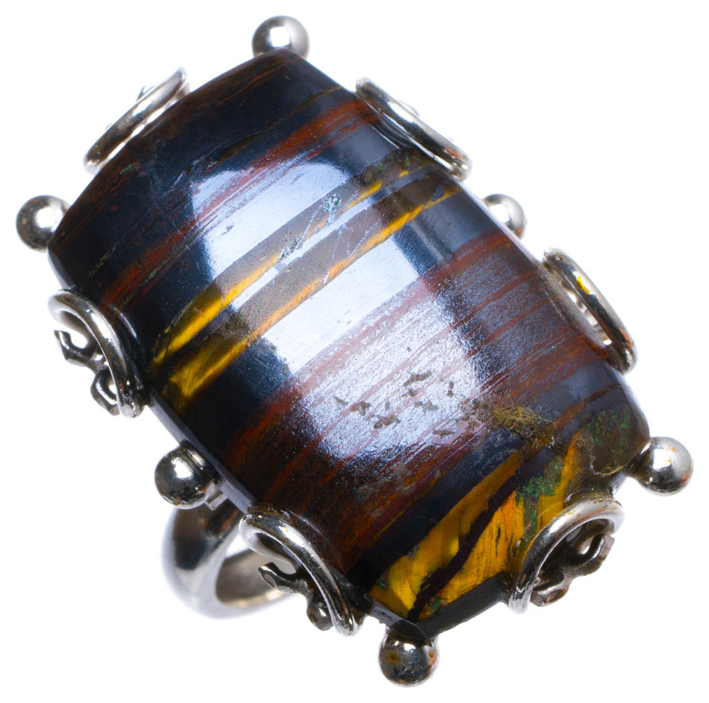 Natural Iron Tiger Eye Handmade Unique 925 Sterling Silver Ring, US size 6.5 X2313