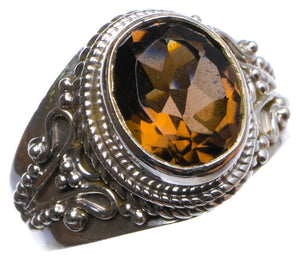 Natural Smoky Quartz Handmade Unique 925 Sterling Silver Ring, US size 8 X2706