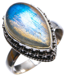 Natural Blue Fire Labradorite Handmade Unique 925 Sterling Silver Ring, US size 8 X3005