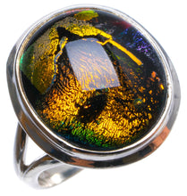 Natural Fancy Dichroic Glass Handmade Unique 925 Sterling Silver Ring, US size 7.75 X3102