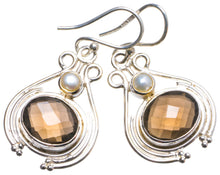 "Natural Smoky Quartz and River Pearl Handmade Unique 925 Sterling Silver Earrings 1.5"" X3205"