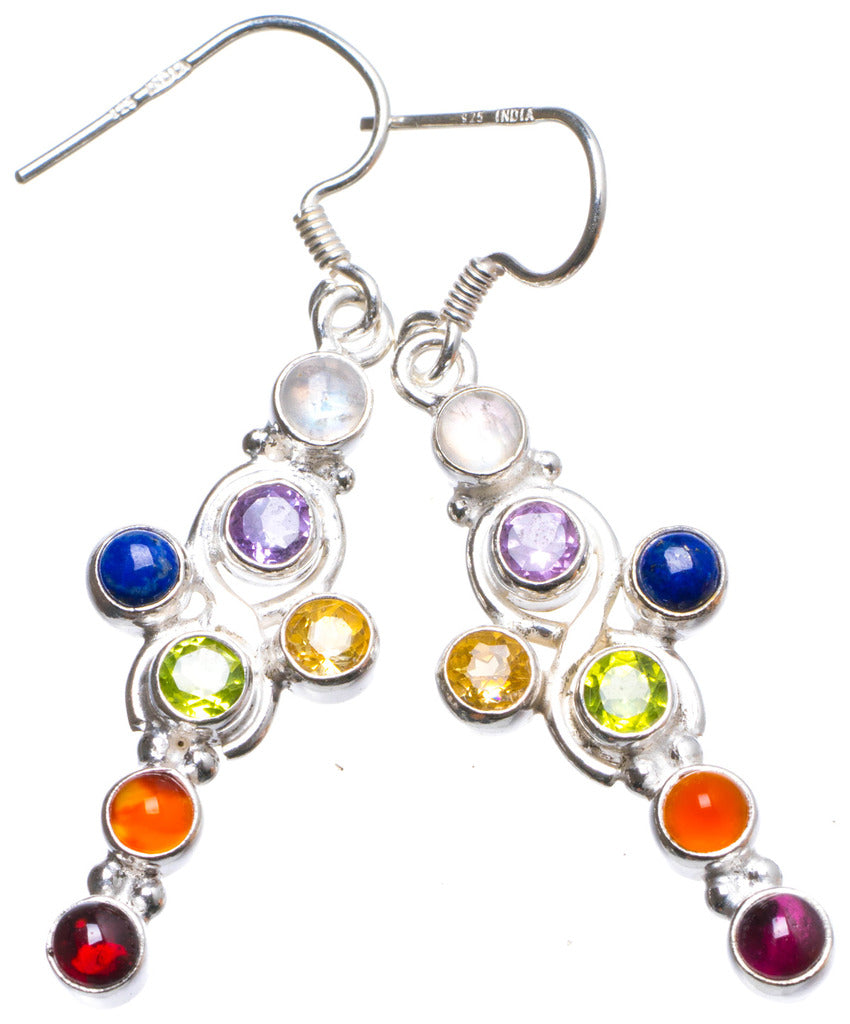 Amethyst,Peridot,Citrine,Lapis Lazuli,Agate,Carnelian and Moonstone 925 Sterling Silver Earrings 2