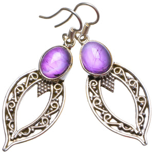 "Natural Amethyst Handmade Unique 925 Sterling Silver Earrings 2"" X3327"
