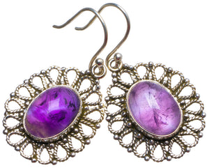 "Natural Amethyst Handmade Unique 925 Sterling Silver Earrings 1.5"" X3342"