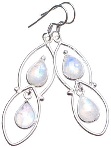 "Natural Rainbow Moonstone Handmade Unique 925 Sterling Silver Earrings 2.25"" X3345"