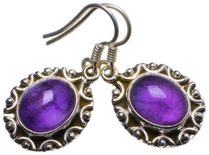 "Natural Amethyst Handmade Unique 925 Sterling Silver Earrings 1.25"" X3404"
