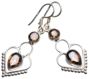 "Natural Smoky Quartz Handmade Unique 925 Sterling Silver Earrings 1.5"" X3412"