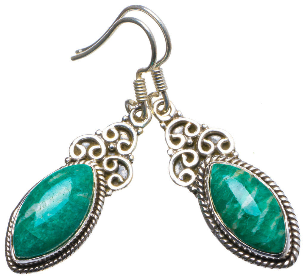 Natural Amazonite Handmade Unique 925 Sterling Silver Earrings 1.5