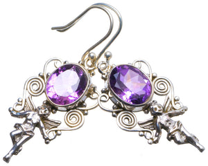 "Natural Amethyst Handmade Unique 925 Sterling Silver Earrings 1.75"" X3468"