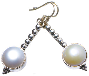 "Natural River Pearl Handmade Unique 925 Sterling Silver Earrings 1.75"" X3476"