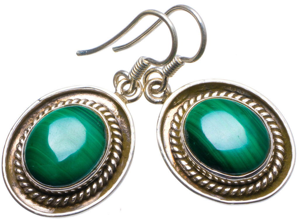 Natural Malachite Handmade Unique 925 Sterling Silver Earrings 1.25