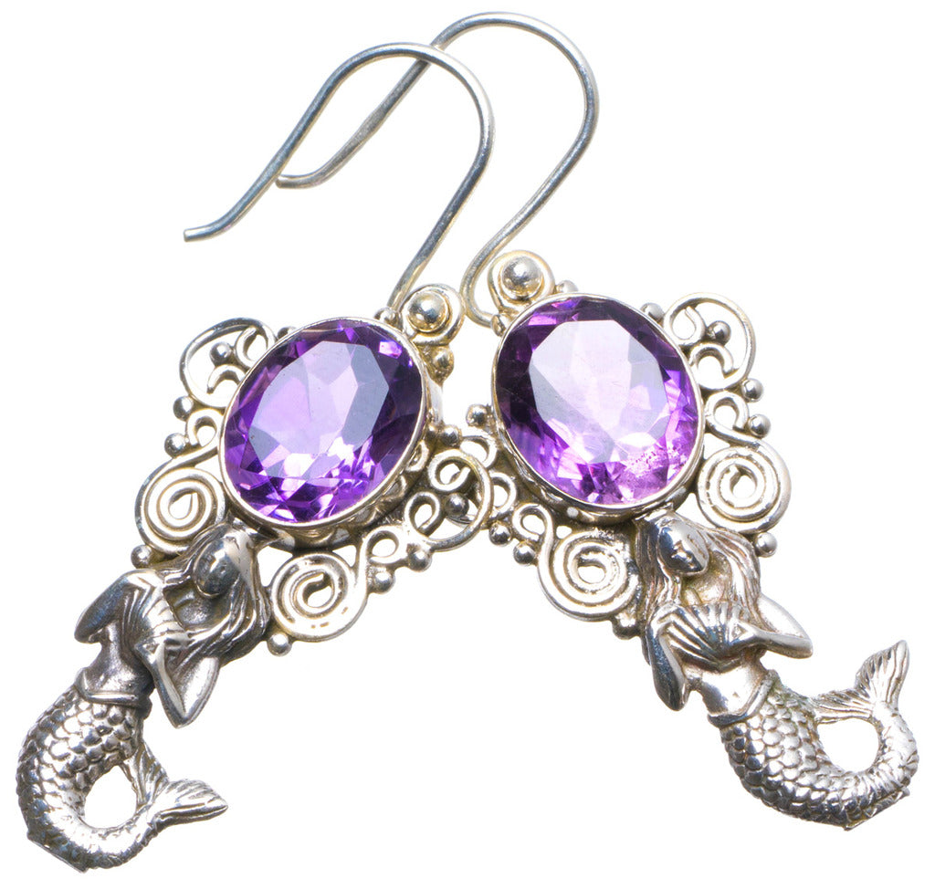 Natural Amethyst Handmade Unique 925 Sterling Silver Earrings 2