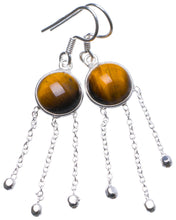 "Natural Tiger Eye Handmade Unique 925 Sterling Silver Earrings 2"" X3551"