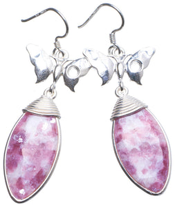 "Natural Rhodonite Handmade Unique 925 Sterling Silver Earrings 2.25"" X3565"