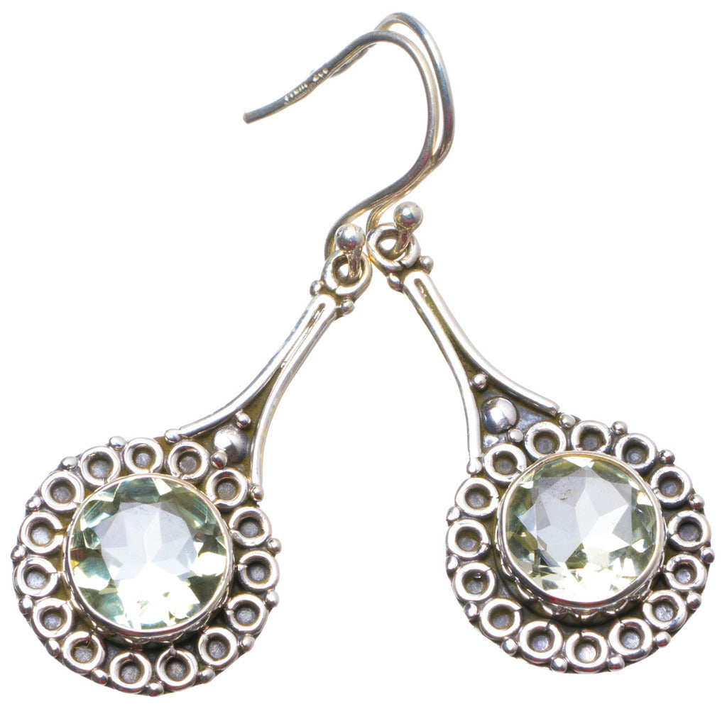 Natural Green Amethyst Handmade Unique 925 Sterling Silver Earrings 2
