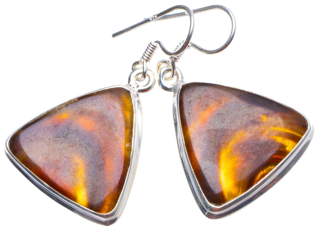 Natural Botswana Agate Handmade Unique 925 Sterling Silver Earrings 1.5