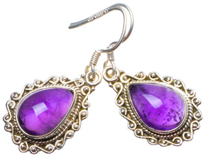 "Natural Amethyst Handmade Unique 925 Sterling Silver Earrings 1.5"" X3652"