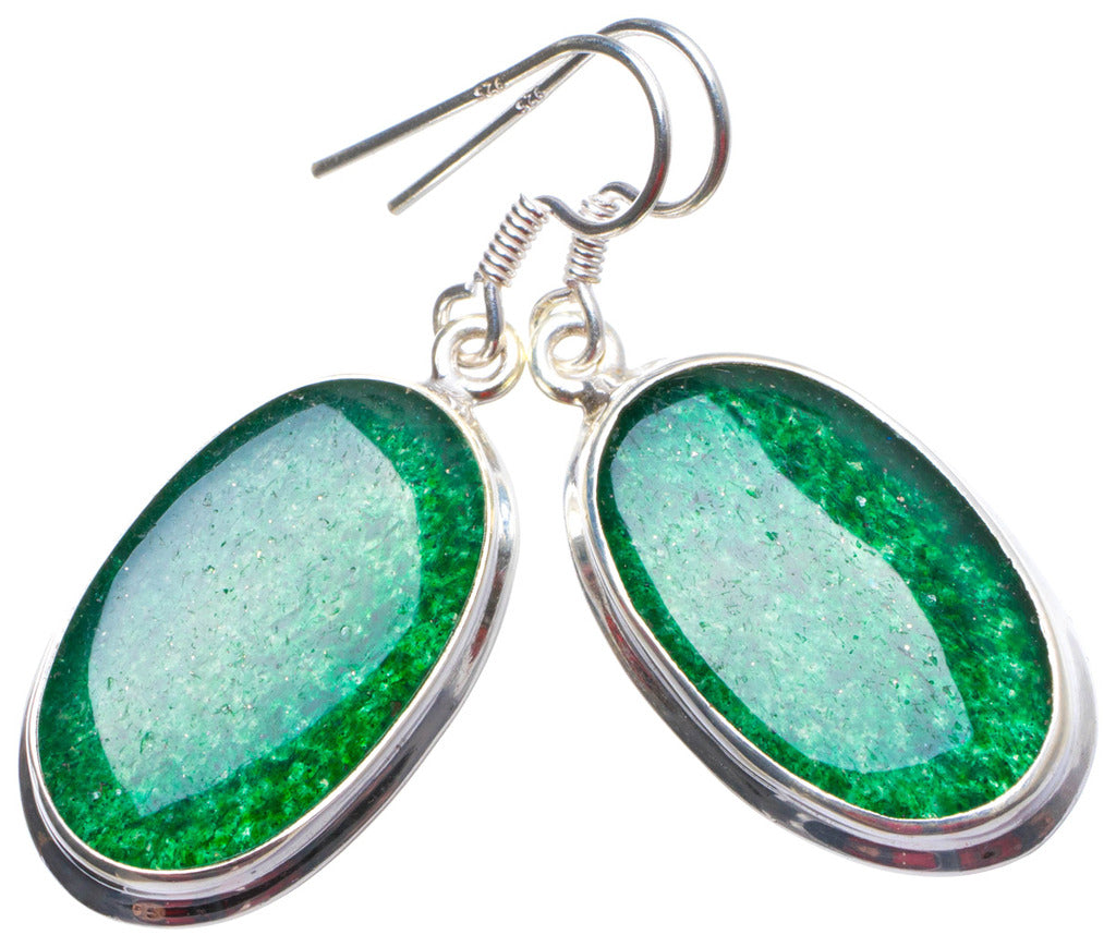 Natural Green Aventurine Handmade Unique 925 Sterling Silver Earrings 1.5