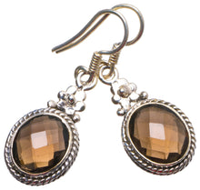 "Natural Smoky Quartz Handmade Unique 925 Sterling Silver Earrings 1.25"" X3682"