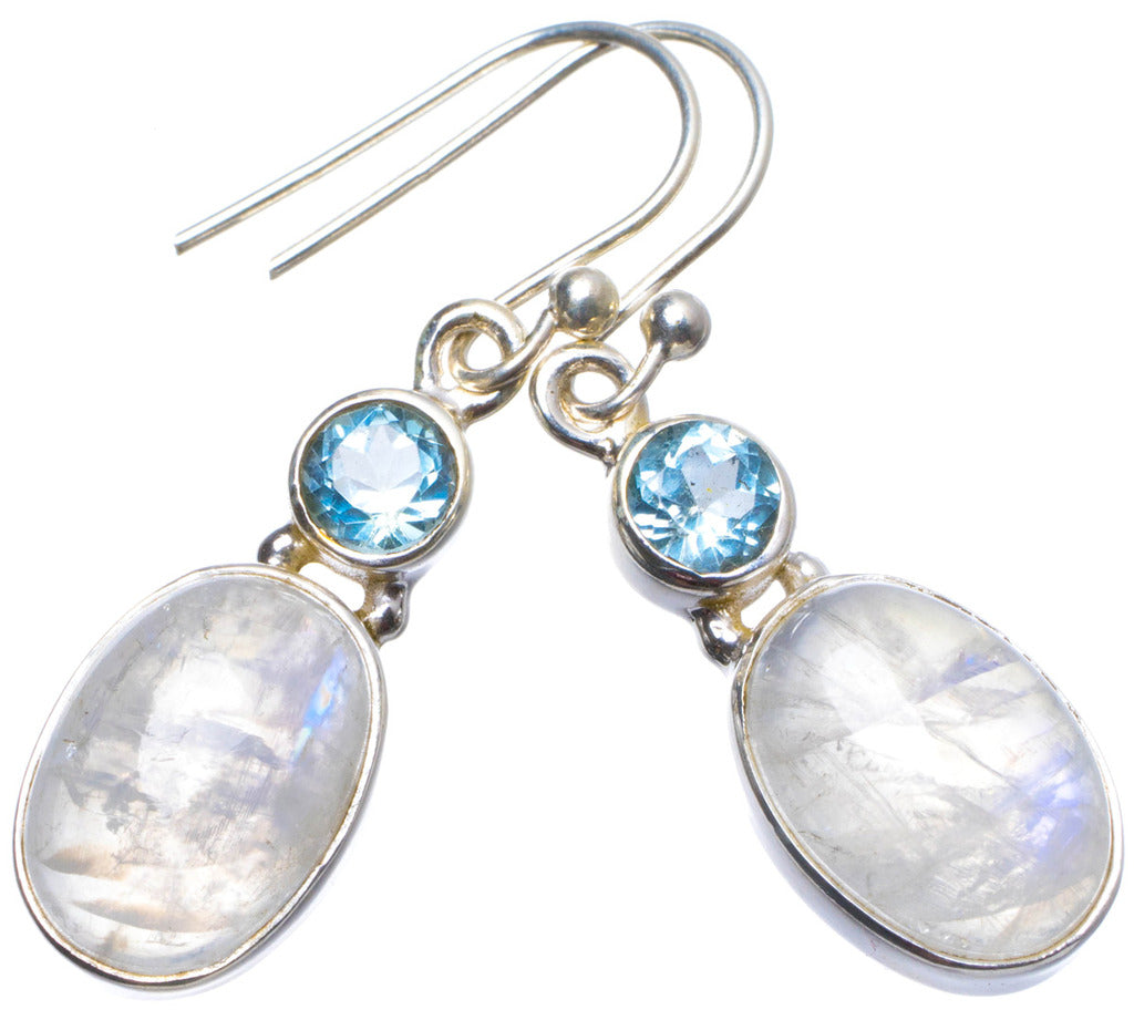 Natural Moonstone and Blue Topaz Handmade Unique 925 Sterling Silver Earrings 1.25