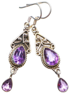 "Natural Amethyst Handmade Unique 925 Sterling Silver Earrings 2"" X3835"