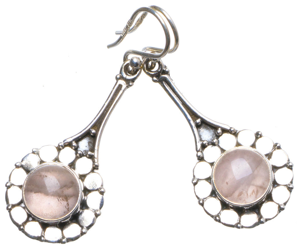 Natural Rose Quartz Handmade Unique 925 Sterling Silver Earrings 1.75