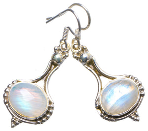 "Natural Rainbow Moonstone Handmade Unique 925 Sterling Silver Earrings 1.5"" X3905"