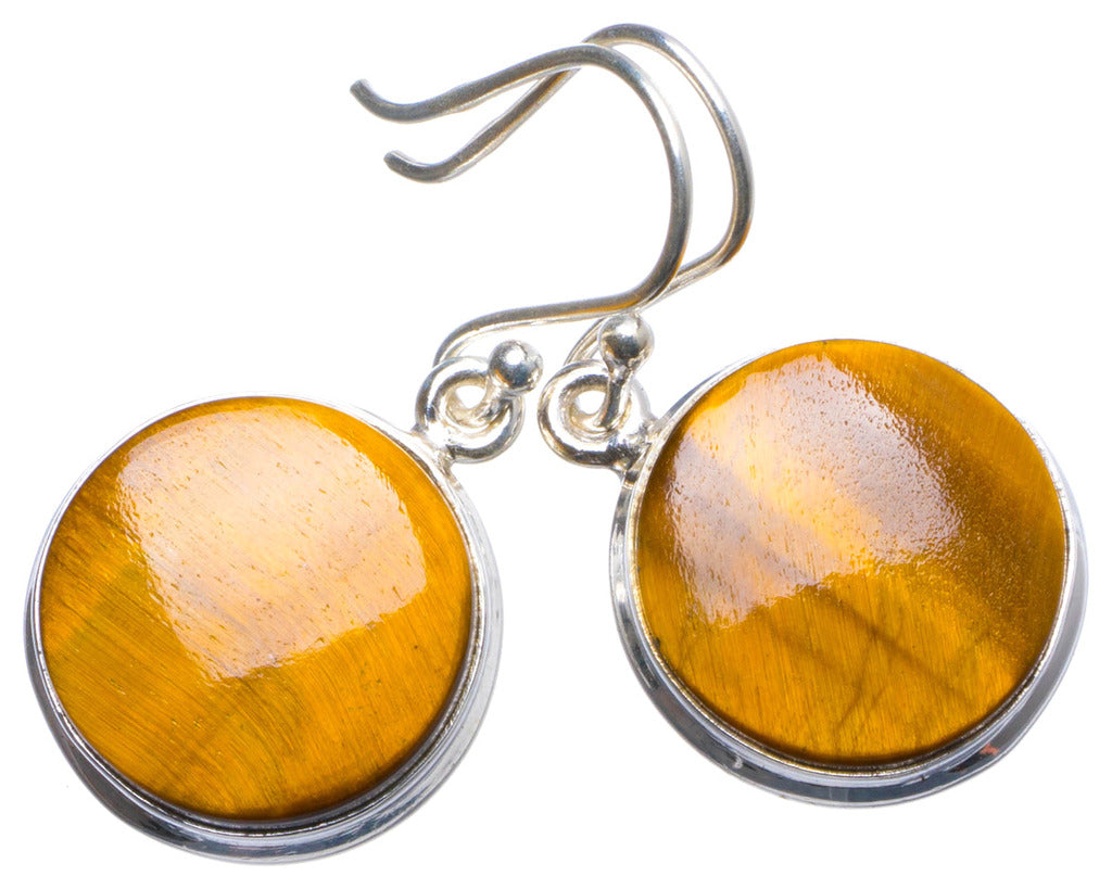 Natural Tiger Eye Handmade Unique 925 Sterling Silver Earrings 1.25
